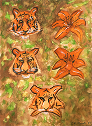 Scan of Tiger Lilly watercolor painting